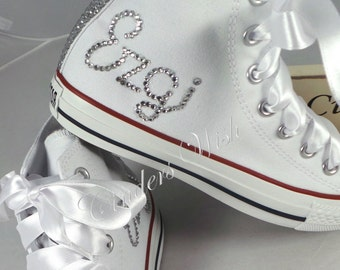 Womens Personalised converse   your name on converse   bling high tops    sparkle converse   bride converse   wedding converse e76988d3be
