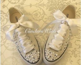 115c06c56c05 Pearl and Cream Converse   Wedding converse   Bridal chucks   Bridal  converse   Crystal shoes  bridesmaid converse   pretty converse