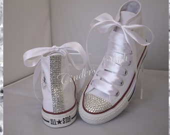 Classic sparkle converse   high top bling converse   customised diamante  converse   wedding converse   4650e79a47