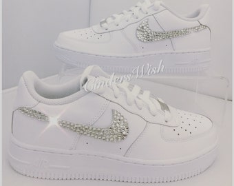 Swarovski Nike Air Force ones in pure White   Bling Nikes   White Nikes    Sparkly Nikes   Bling Sneakers a7fc828950
