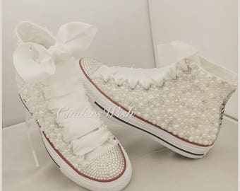 91658a33f8c Pearl Just Married Converse     All over converse   Bridal converse    Wedding converse   pearl converse   bling converse   prom converse