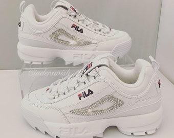 24a133f0aa1c Swarovski Fila Disruptor/bling Fila/blanc Fila/brillant Fila/bling baskets