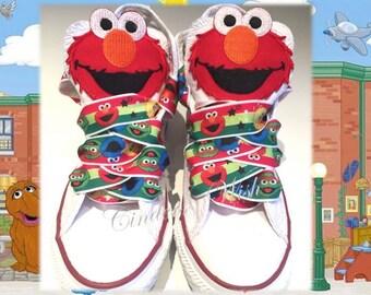 Elmo kids converse  / customised converse / Cookie Monster  converse / sesame street / muppets / big bird / animal