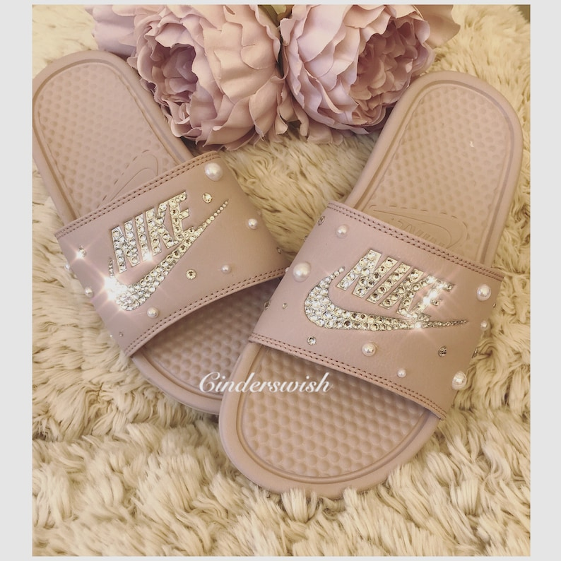 cf5680555695 Pearl and Bling Nike Benassi Slides   Bling Pool Sliders