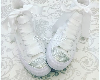 All white Swarovski sparkle converse / high top bling converse / customised diamante converse / wedding converse / Bride Converse / Bride
