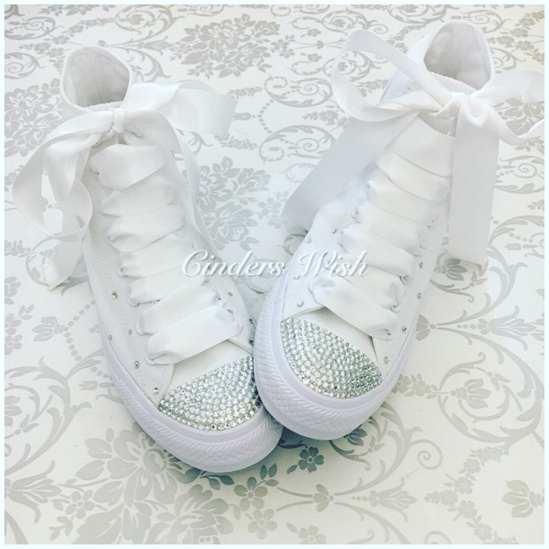 7a84c93e4a53 All white Swarovski sparkle converse   high top bling converse