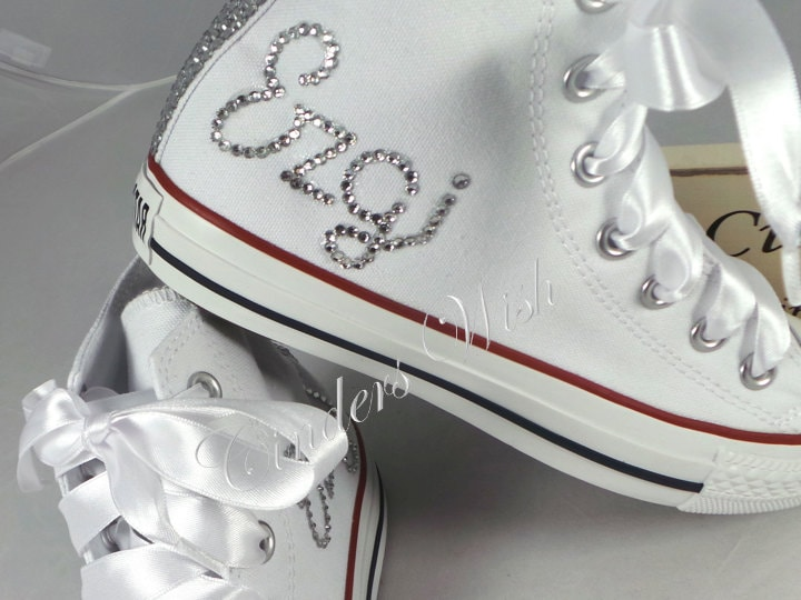 Womens Personalised converse / your name on converse / bling | Etsy
