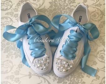 Pearl and Baby blue crystal Converse / bridal converse / wedding converse/ bride converse / blue converse  / unique sneakers