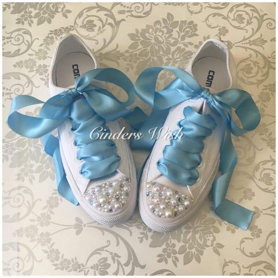 Pearl and Baby blue crystal Converse   bridal converse    72fb103a6b