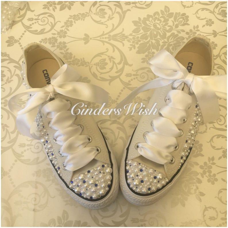 179c2d53fb1c Pearl and Cream Converse   Wedding converse   Bridal chucks