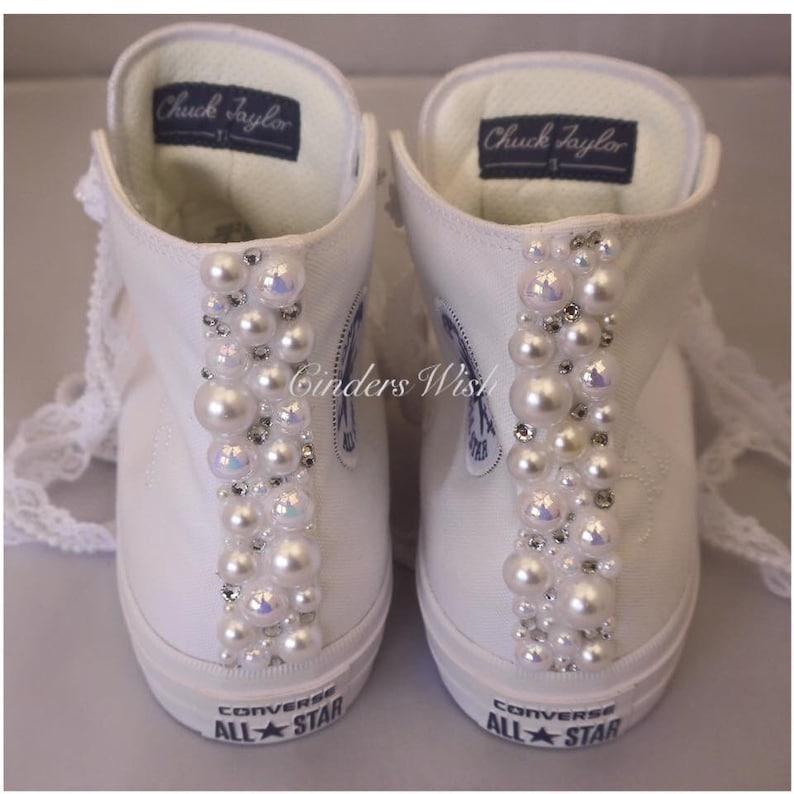 4d0afca9d322 Leather Tall Pretty Pearl Trim Converse   Bridal Pearl