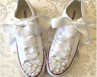 Pearl Converse / bridal converse / wedding converse/ bride converse / customised converse  / unique sneakers