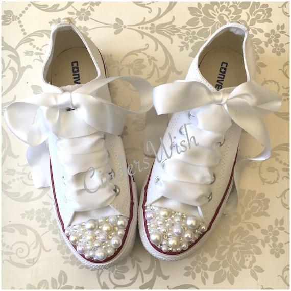 Pearl Converse / bridal converse