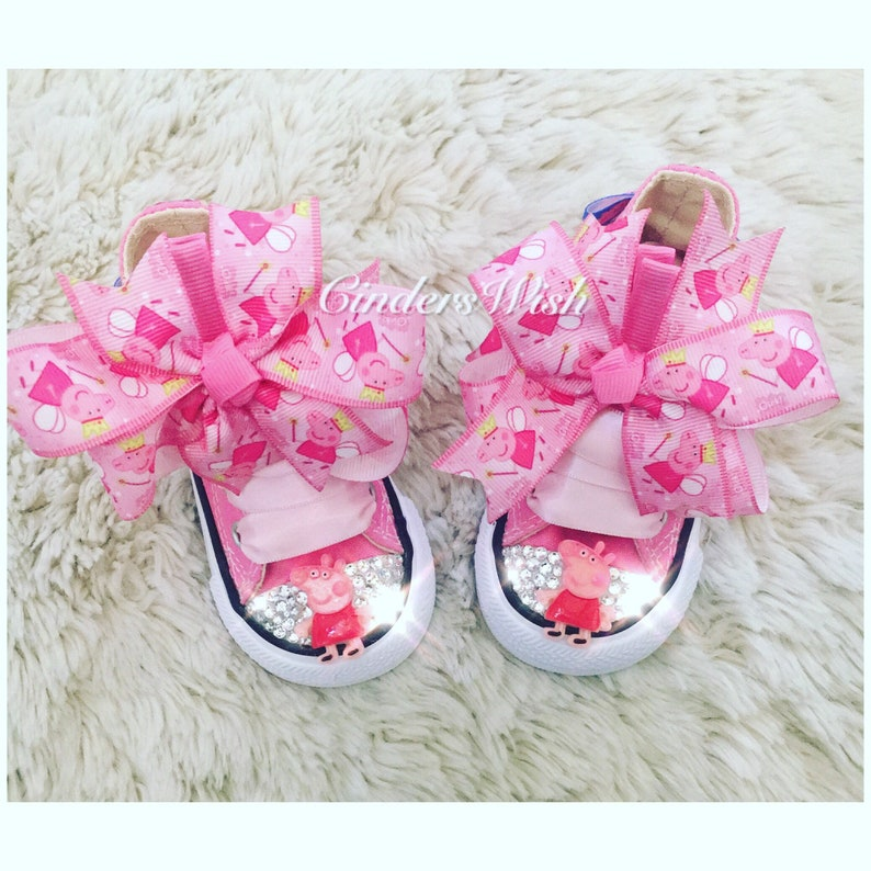 82e100e896752 Peppa pig Swarovski Converse / girls converse / pink converse/ bling toe /  infant converse / personalised shoes / customised converse