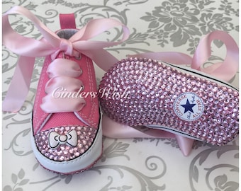 Pink Bow Baby converse/Bow converse/twinkle toes/ bling toe converse / flowergirl shoes / bling baby shoes, /christening shoes