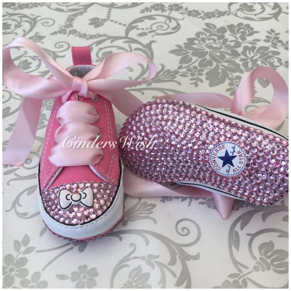 ccbe98a7da68ce Pink Bow Baby converse Bow converse twinkle toes  bling toe