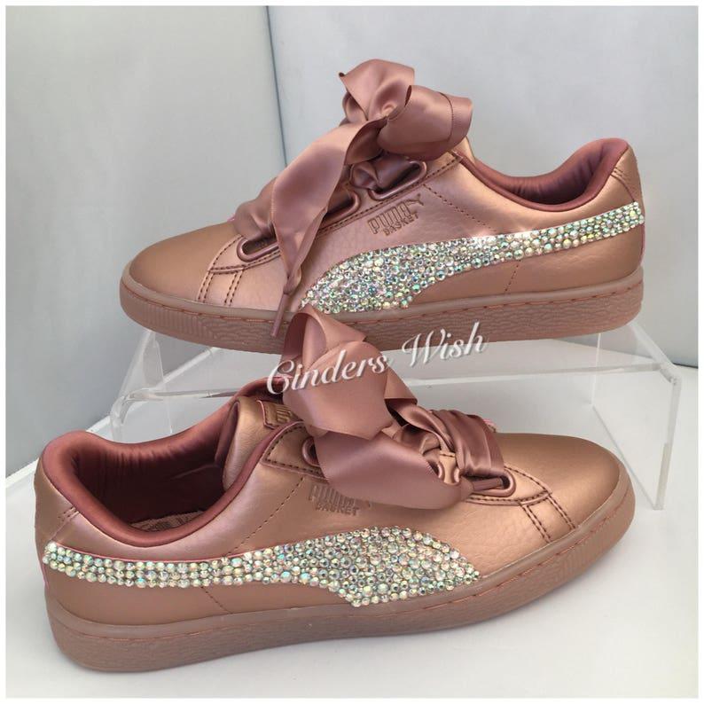 Licorne Bling Swarovski Puma panier coeur baskets chaussures de mariage mariage formateurs Puma rose sparkle formateurs