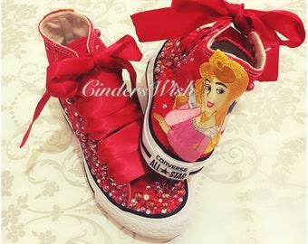Sleeping Beauty Red Converse / Disney princess converse / kids red converse / pink sparkly converse / character sparkly converse / disney