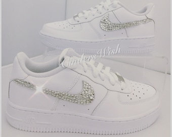 Swarovski Nike Air Force ones in pure White / Bling Nikes / White Nikes / Sparkly Nikes / Bling Sneakers