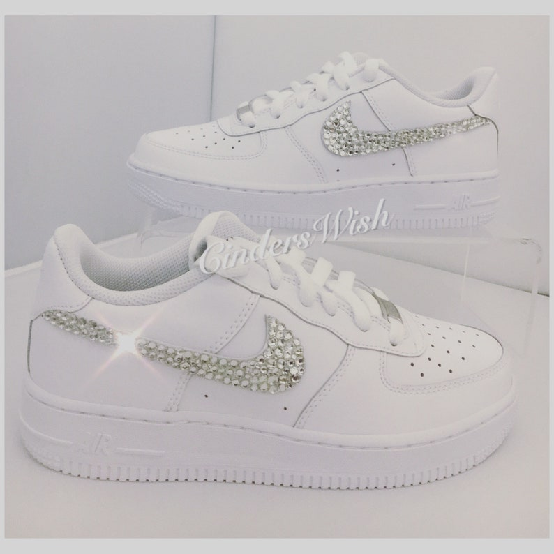 Swarovski Nike Air Force ones in pure White   Bling Nikes    84981f2e683d