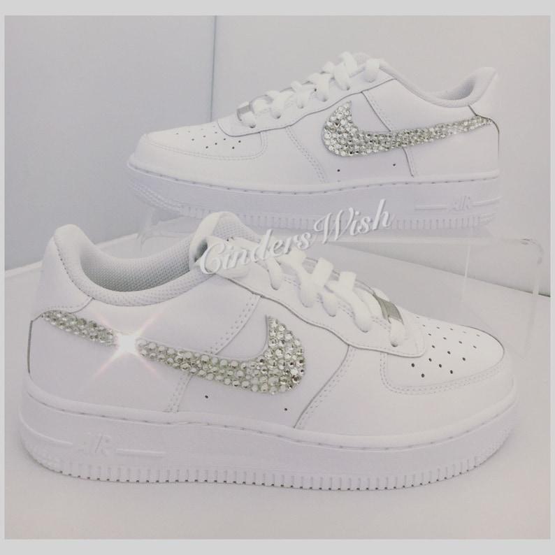 Swarovski Nike Air Force ones in pure White   Bling Nikes    2e278ba80