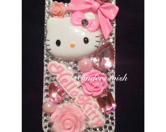 Hello Kitty Pink phone case / pearls phone case / bows phone case / name phone case / personalised phone case / pretty phone case