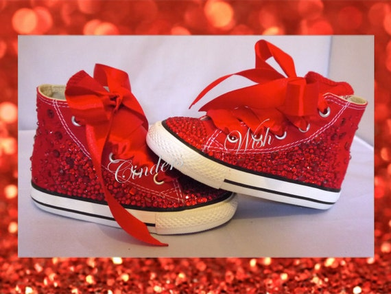 Childrens red ruby converse  wizard of oz shoes   customised  7cb5ece890