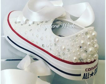 White Pearl Converse - outsides only  / Wedding converse / Bridal chucks / Bridal converse / Crystal shoes/ bridesmaid converse / pretty con