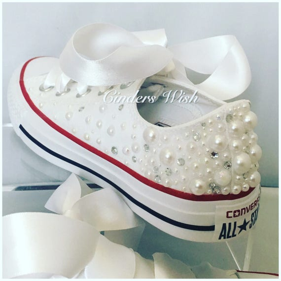 White Pearl Converse outsides only   Wedding converse    384fc65368