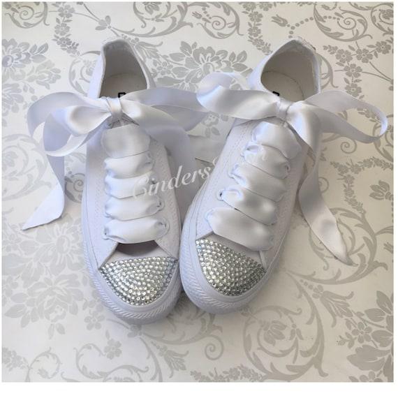 85eb647e2d2a All white Swarovski toe converse   mono sparkle converse