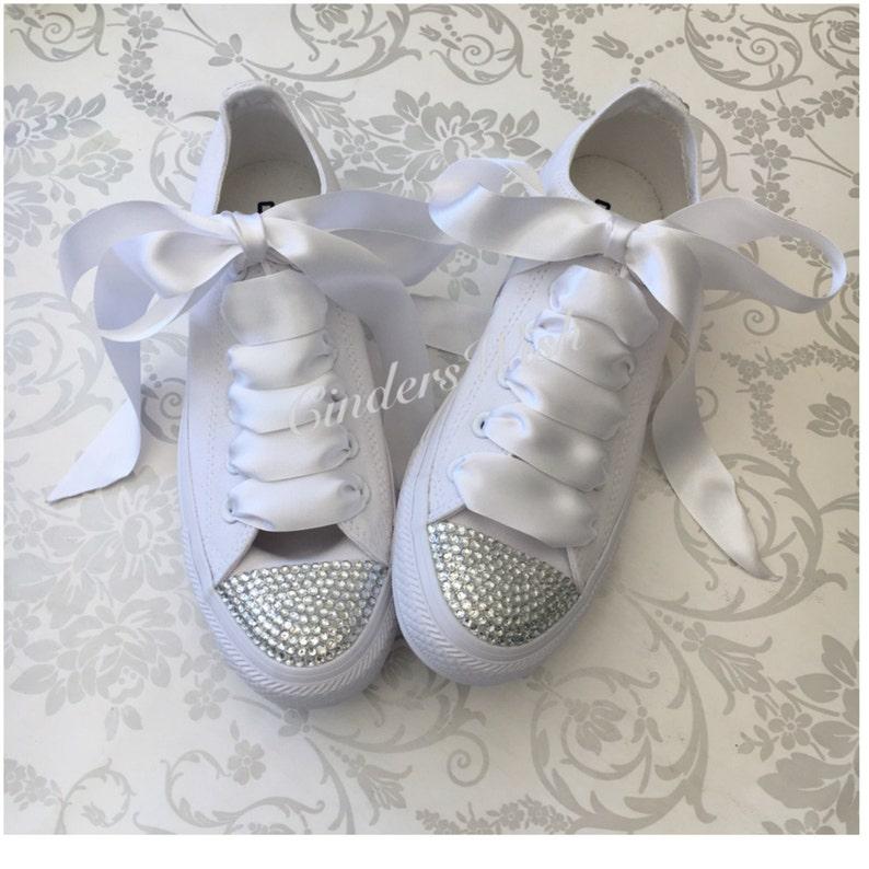 7a060c512d8d All white Swarovski toe converse   mono sparkle converse