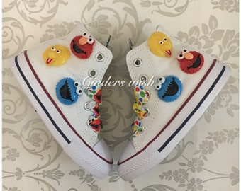 Sesame Street kids converse  / customised converse / Cookie Monster  converse / sesame street / muppets / big bird / the count