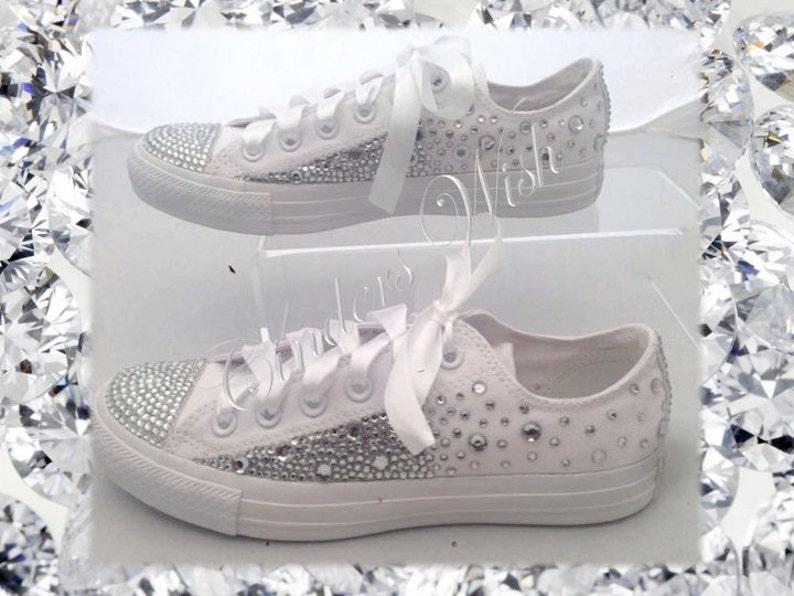 d6070a008cc80d Sparkling All white Converse   Wedding converse  bridesmaid