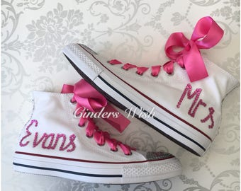 Pink Married name Crystal Converse / Married date Converse/ Pink / Hearts/ Wedding converse /Bride converse / customised converse