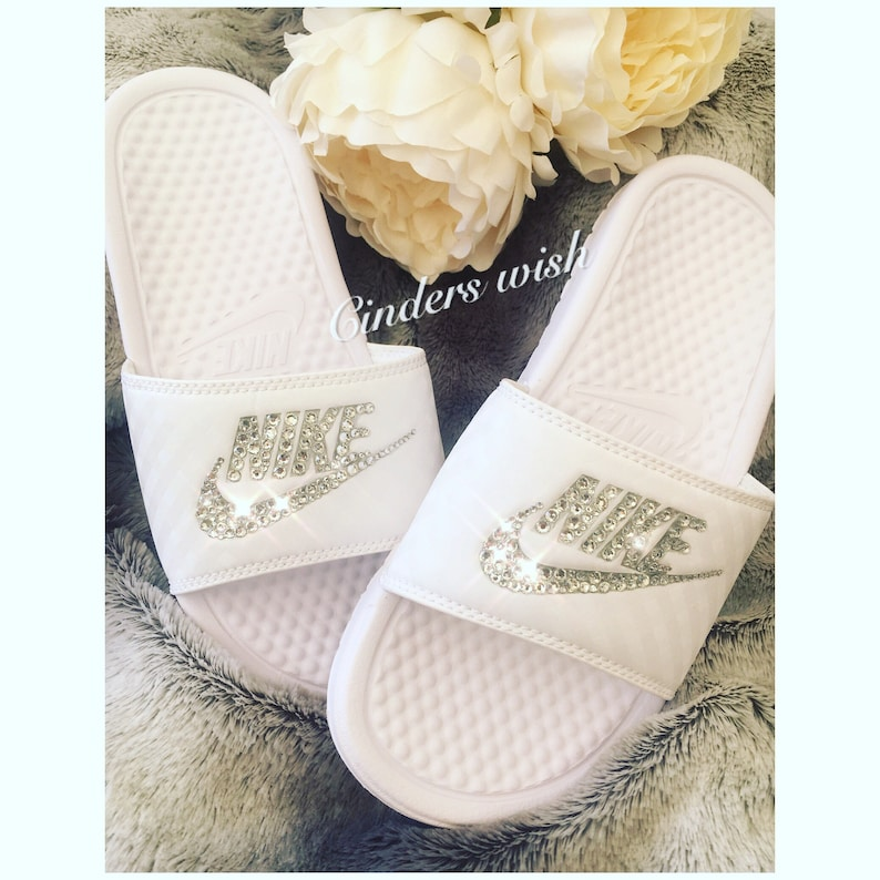 4b574eb95685 Swarovski Bling Nike Benassi Slides   Bling Pool Sliders