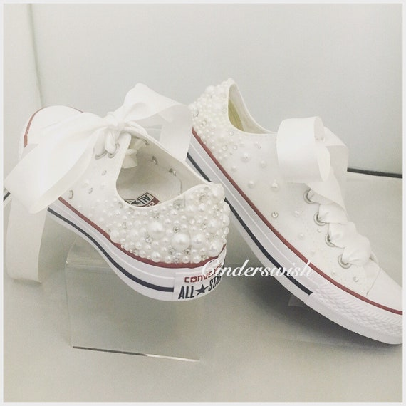White Pearl Converse All sides covered   Wedding converse    871d787d6