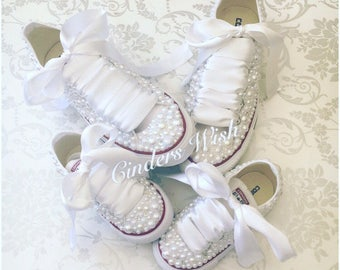 Mummy & Me matching Wedding shoes / Bride and Flowergirl wedding Converse/ Matching wedding converse / wedding bling Converse