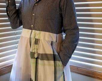 241bdd9e3b Upcycled Men's Shirt Dress Blue, Green and White Country Chic Clothing  Anthropologie Inspired Refashioned Classy Dress