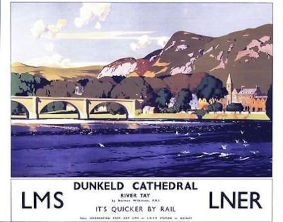 Vintage LMS Fleetwood Lancashire Railway Poster A3//A2//A1 Print