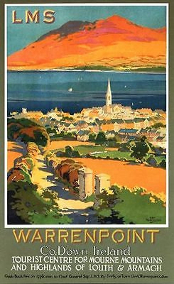 vintage lms warrenpoint county down railway poster a3 a2. Black Bedroom Furniture Sets. Home Design Ideas