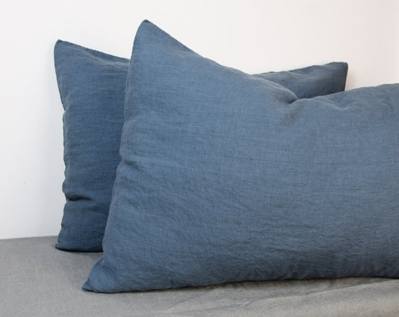 Pair of 100% linen pillow covers, BLUE SHADOW bedding collection. Blue-grey/gray color. Standard, queen, king and other custom sizes.
