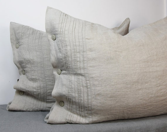 Pair of 100% linen pillow covers. Hemstitched. NATURAL bedding collection. Not dyed linen flax. Standard, queen, king, custom sizes. Washed.