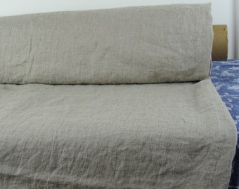 Thin pure 100% linen fabric 130gsm. Natural not dyed, pale taupe (color of linen flax). Washed, dense, soft.