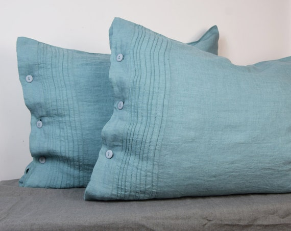 Pair of 100% linen pillow covers. Hemstitched. DUCK EGG bedding collection. Greenish-bluish. Standard, queen, king, custom sizes. Washed.
