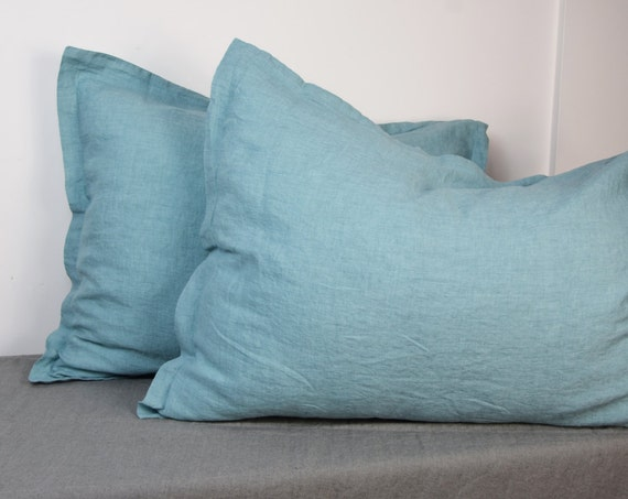 Pair of 100% linen pillow shams, DUCK EGG bedding collection. Greenish-bluish. Standard, queen, king and other custom sizes. Stone washed.