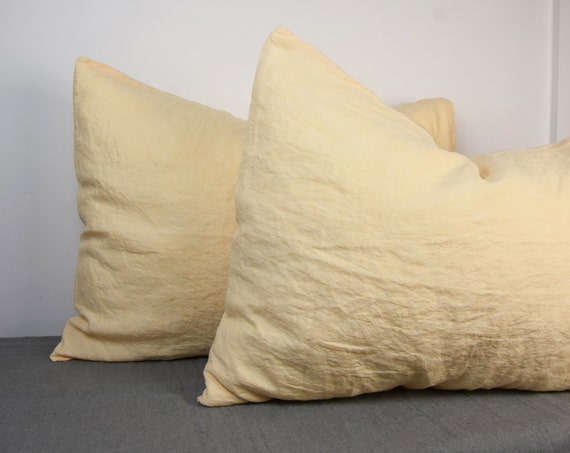 Pair of 100% linen pillow covers. MIDSUMMER bedding collection. Cream-peach color. Standard, queen, king, other custom sizes. Stone washed.