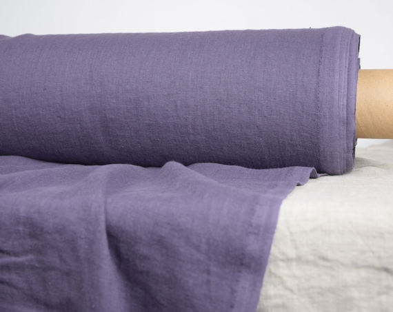 "Pure 100% linen fabric Gloria Purple-Aubergine 190gsm.  Middle weight, densely woven, washed-softened. The last piece 1.10x1.45m (43""x57"")!"