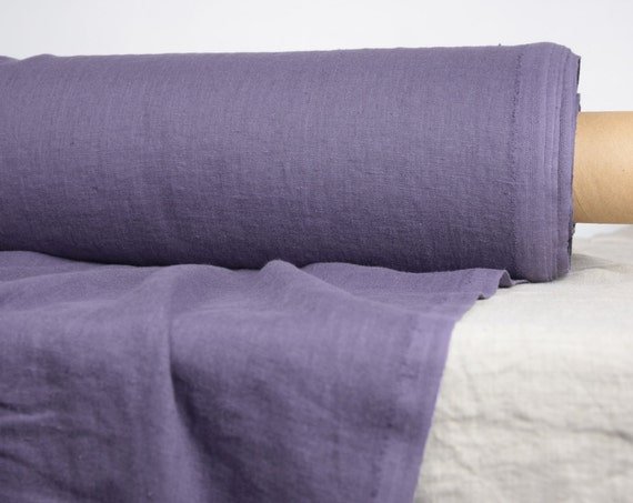 Pure 100% linen fabric Gloria Purple-Aubergine 190gsm.  Middle weight, densely woven, washed-softened.