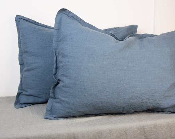 Pair of 100% linen pillow shams, BLUE SHADOW bedding collection. Blue-grey/gray color. Standard, queen, king and other custom sizes.