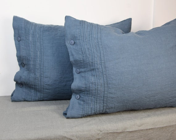 Pair of 100% linen pillow covers. Hemstitched. BLUE SHADOW bedding collection. Blue-grey/gray. Standard, queen, king and other custom sizes.